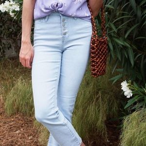 NWT YMI Button Up Ankle Flare Denim
